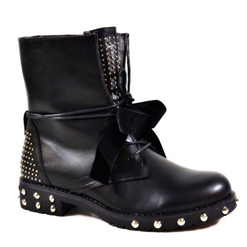 King Of Shoes Bequeme Damen Nieten Stiefeletten Bikerboots Halbschaft Halbhohe Stiefel Blockabsatz QN Schwarz 79