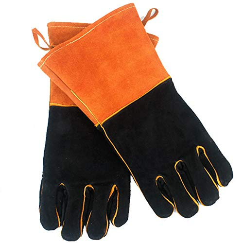 LAIABOR Leather Gloves Welders Gauntlets Outdoor Camping fire Barbecue Leather high Temperature BBQ Gloves Insulation lengthening,Orange - Leather Welders Gauntlets