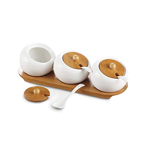 DBSCD Bamboo Cover Ceramic Condiment Container Jar - Ceramic Serving Spoon, Wooden Tray - The Best Pottery Cruet for Your Home, Kitchen, Counter. White, 170 ml (5.8 oz), Set of 3