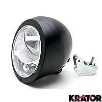 Krator Motorcycle Black Headlight Universal Cruisers Choppers Cafe Racer Lamp Light for any Harley, Honda, Yamaha, Suzuki, Kawasaki, Custom Bike, Cruiser, Choppers