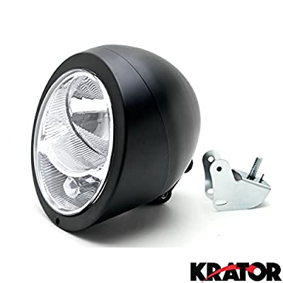 Krator Motorcycle Black Headlight Universal Cruisers Choppers Cafe Racer Lamp Light for any Harley, Honda, Yamaha, Suzuki, Kawasaki, Custom Bike, Cruiser, Choppers