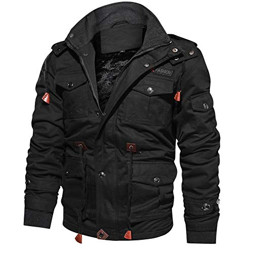 ReFire Gear Men Cotton Military Army Jacket Casual Thermal Sherpa Lined Coat Black
