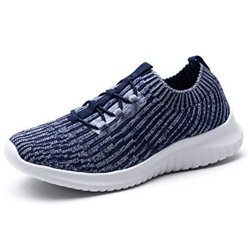 - konhill Women's Lightweight Athletic Running Shoes Walking Casual Knit Workout Sneakers, Navy, 44