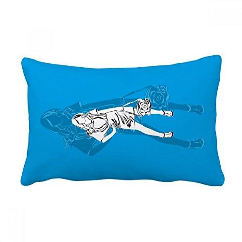 DIYthinker Blue Fashion Beautiful Woman Throw Lumbar Pillow Insert Cushion Cover Home Sofa Decor Gift by DIYthinker
