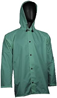 """product image for WaterShed 637013-GR-3XL StormCreek Polyurethane Coated Nylon Waterproof Jacket with Attached Hood and Cuff Snaps, 32"""" Length, 3XL, Forest Green"""