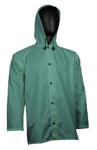 Medium 32 Length Forest Green WaterShed 637011-GR-MED StormCreek Polyurethane Coated Nylon Waterproof Jacket with Attached Hood and Cuff Snaps