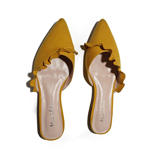 Mules Women For Mustard Slip Size Plus Maguidern On Loafer Backless Ruffle Suede Sandals Trimmed Flat Slippers Slides AqdUwE
