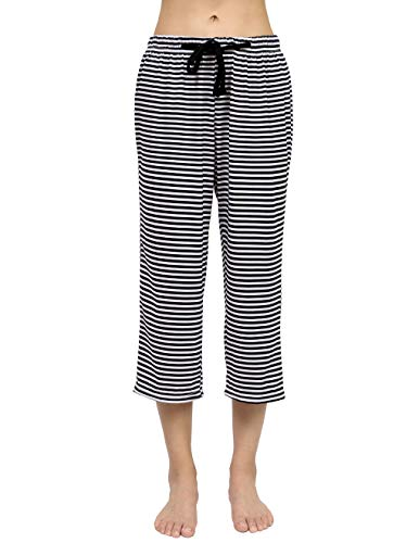 HONG HUI Women Pajama Capri Pants Striped Sleep Lounge Pants Plus Size Sleepwear