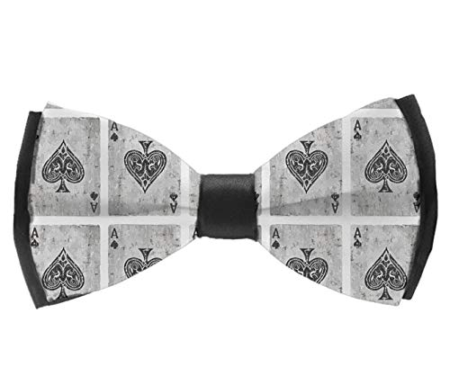 AIMVOGUE Ace of Spades Card Poker Lover Mens Pre-Tied Formal Tuxedo Bowtie for Adults & Children