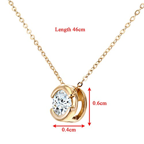 Revoni Bague en or jaune 9carats Diamant Pendentif avec chaîne 46cm,-Diamant 0.33Cts