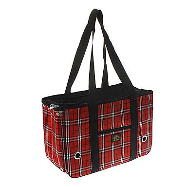 Quick shopping Fashionable Grid Pattern Outdoor Carrier Bag for Pets Dogs , Red , S