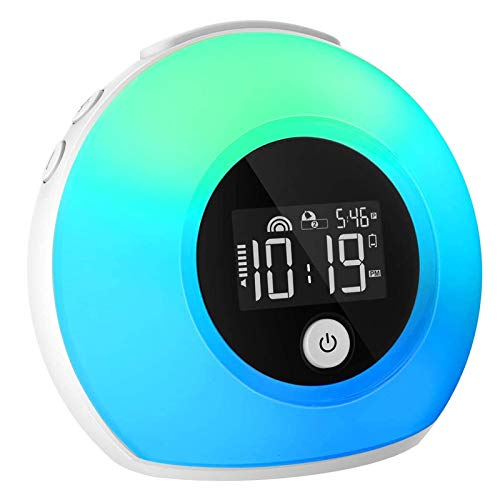 iYeHo Alarm Clock for Kids Bedrooms Music Wake Up Light with Bluetooth Speakers,Dimmable Color Changing Night Light,Alarm Clocks for Heavy Sleepers,Music Player for Party Camping