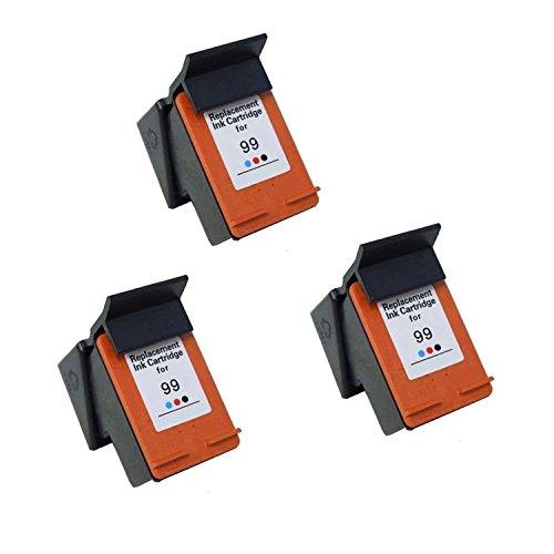 375 Ink (Hp 99 C9369wn Photo Color Inkjet Cartridge Remanufactured for Photosmart 325, 375, 8450, 8150, 2710, 2610, PSC 1600, 1610, 2350, 2355, 2610, 2710, Deskjet 6840, 6540, 6520, 5740-3Pack)