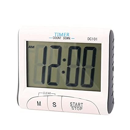 eDealMax cocina de sobremesa colgar de la pared del reloj digital temporizador de cuenta atrás Blanca