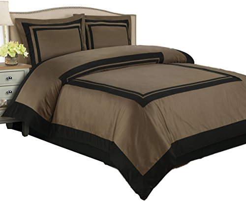 sheetsnthings 100% Cotton Hotel Duvet Cover Set, 300TC -King/California King, Taupe with Black Trim- 3PC Duvet Covers