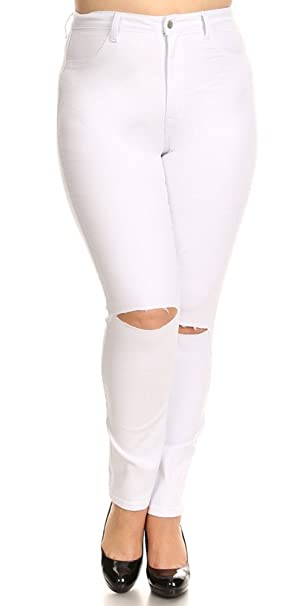 40a3be3af5365 Monotiques Women s Plus Size sliced knee jeans  Amazon.ca  Clothing ...