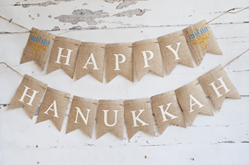 Happy Hanukkah Banner, Hanukkah Decoration, Hanukkah Party Sign -