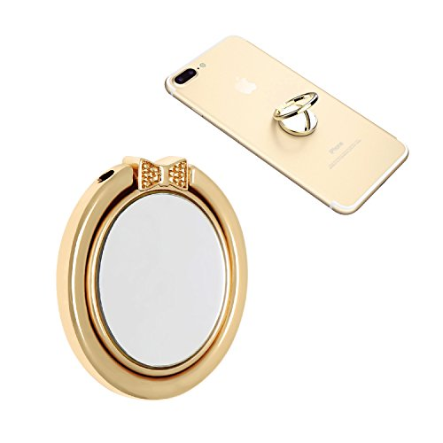 NOPNOG Finger Ring Stand Cell Phone Holder Grip Mirror Design 360° Adjustable for iPhone X/8/7/6s/6plus Samsung Galaxy S7/ S8 Moto Lg Google Pixel XL/Nexus 6/ 6p HTC Smartphone (Gold)