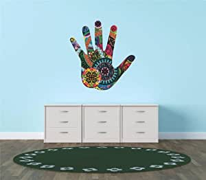 Decal - Vinyl Wall Sticker : Colorful Hand Living Room Bedroom Kitchen Home Decor Picture Art Image Peel & Stick Graphic Mural Design Decoration - Discounted Sale Item - Size : 30 Inches X 30 Inches - 22 Colors Available