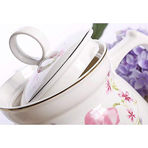 Exquisite Tea Cups Saucers Set Set Coffee Cup Ceramics Teapot Heat-Resistant High Capacity Single Pot Cold Water Household Large Cold Water Bottle Hot Water Bottle Tea Pot 1125ML by Kinue (Image #3)