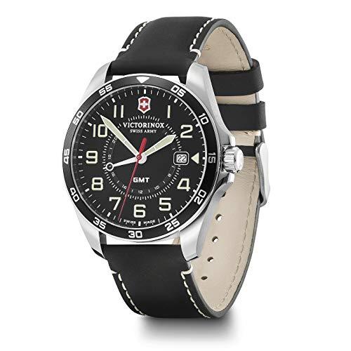 Victorinox FieldForce GMT schweizisk tillverkad herrklocka i svart med läderrem 241895
