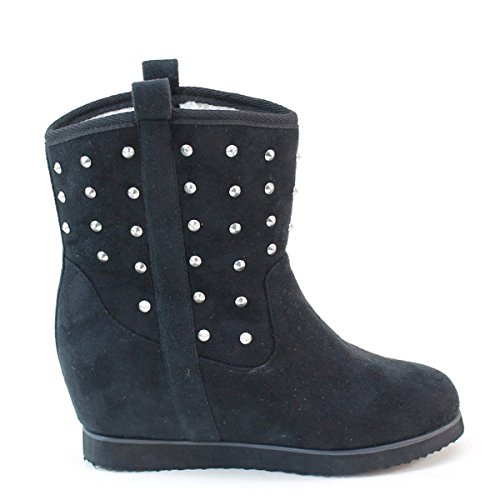 Women's Short Brieten Boots Wedge New Studded Spike B40wZyFAyq