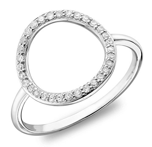 10K White Gold Diamond Circle Ring (0.12TDW H-I Color,I1 Clarity) Size (White Diamond Circle Ring)