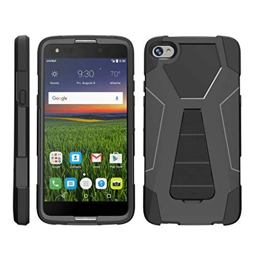 TurtleArmor | Compatible for Alcatel Idol 5 Case | Alcatel Nitro 5 Case [Dynamic Shell] Hard Hybrid Kickstand Silicone Impact Cover Protection Girl Designs - Black