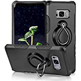 Galaxy S8 Case by JYIN, Magnetic Car Mount Soft TPU Cover with 360 Degree Rotating Ring Kickstand Function, Full Protective Anti Scratch Holder Grip Case Compatible Whit Samsung Galaxy S8 - Black