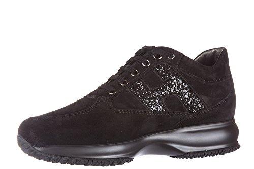 spezzata Femme en Lavorata Hogan h Chaussures Sneakers Interactive Baskets Nero Daim q0IzItxr