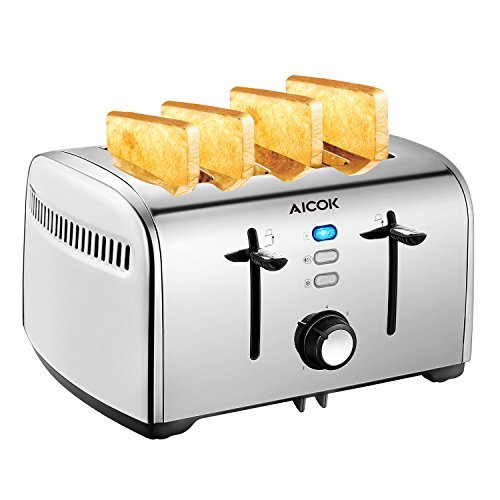 Cheap Aicok Toaster, 4-Slice Toaster with 7 Browning Control, Defrost/Bagel/Cancel Function, Extra Wide Slots, Removable Crumb Tray, Smooth Stainless Steel, 1500W, Silver