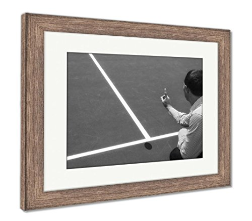 Tennis Umpires Chair (Ashley Framed Prints Chair Umpire Look at Mark On Court and Says Ball was Out, Wall Art Home Decoration, Black/White, 34x40 (Frame Size), Rustic Barn Wood Frame, AG6115291)