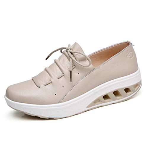 Femmes Creepers Cuir Fendu Plat En Plateforme Compensés Sneakers Dames À Automne Lacets Chaussures Talons Beige 4w0qH4xrSP