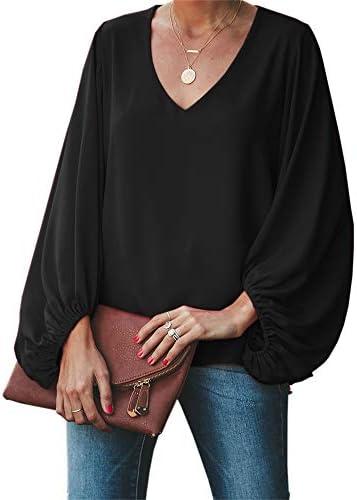 Umeko Womens V Neck Chiffon Blouses Tops Oversized Long Lantern Sleeve Pullover Shirts