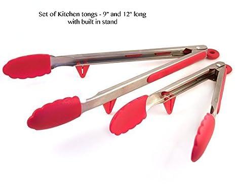 Amazon.com: Acero inoxidable y silicona Pinzas de cocina y ...