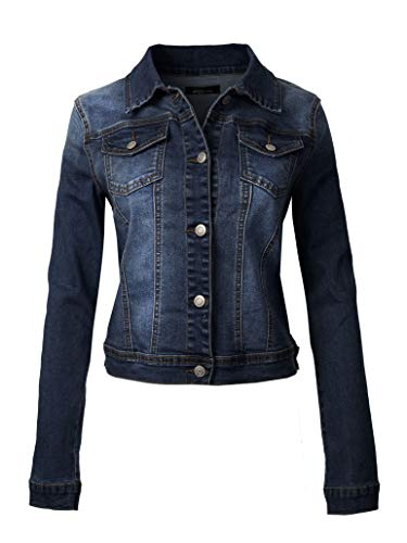 Instar Mode Women's Classic Casual Vintage Blue Stone Washed Denim Jean Jacket, Idjw006 Dark Denim, Large