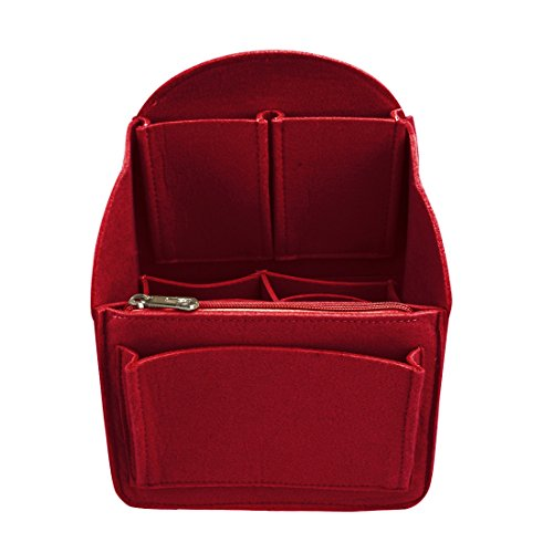 YUENA CARE Insert Bag Felt Backpack Organiser Multi Pocket Fit for Shoulder Bag Travel Handbag Tote Red S by YUENA CARE