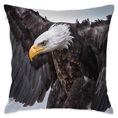 Flying Bald Eagle Decorative Throw Pillow Cover Zippered Cushion Case for Home Sofa Bedroom Car Chair House Party Indoor Outdoor 18 X 18 Inch 45 X 45 cm