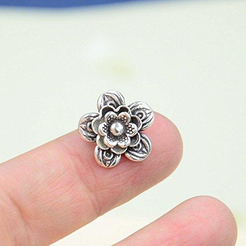 usongs Chiang Mai Thailand 925 sterling silver Thai silver necklace pendant handmade silver necklace pendant three flowers necklace pendant bracelet DIY accessories 09