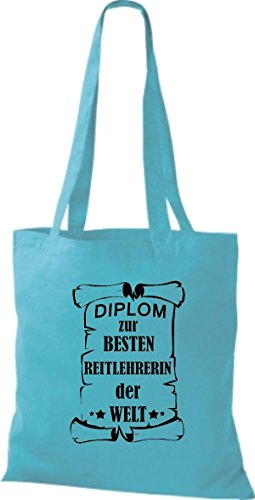 Shirtstown - Bolso de tela de algodón para mujer azul claro