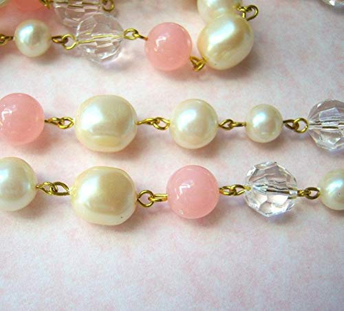 (Vintage Lucite Baroque Pearl Bead Chain Pink - AR170 )