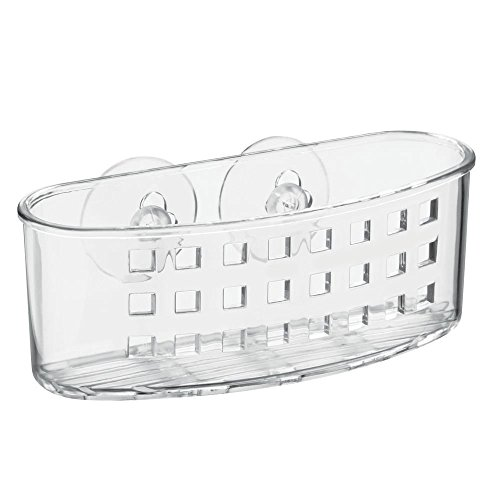 InterDesign Suction Bathroom Caddy – Shower Storage Shelf for Soaps and Sponges, Clear(2 Pack)
