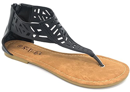 New Womens Gladiator Sandals Shoes Thong Flops T Strap Flip Flops Flats Shoes (2567-Black, 7 - Flats Sandals For Women Under $5