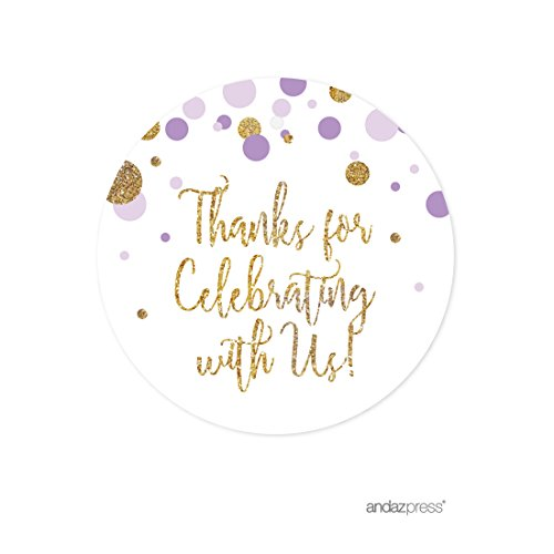 Andaz Press Lavender Gold Glitter Girl Baby Shower Party Collection, Round Circle Gift Tags, Thank You for Celebrating With Us, -