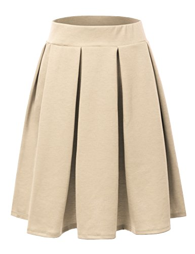 (Doublju Elastic Waist Flare Pleated Skater Midi Skirt for Women with Plus Size Taupe)