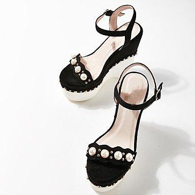 LvYuan Mujer Sandalias Tejido Verano Perla Hebilla Tacón Cuña Negro Almendra Caqui 12 cms y Más almond