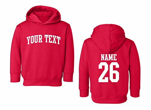 (Toddler Hooded Sweatshirt Custom Personalized, Arched Text, Back Name & Number)