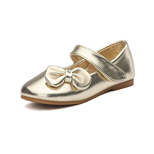 DREAM PAIRS Angel-5 Adorable Mary Jane Side Bow Buckle Strap Ballerina Flat (Toddler/Little Girl) New Gold PU Size 6