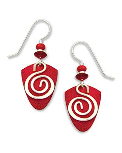 Silver Hook Earrings Spiral - Adajio By Sienna Sky Red Silver-tone Spiral Overlay Earrings 7227