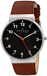 "Skagen Men's SKW6095 ""Ancher"" Stainless Steel Watch with Brown Leather Band"